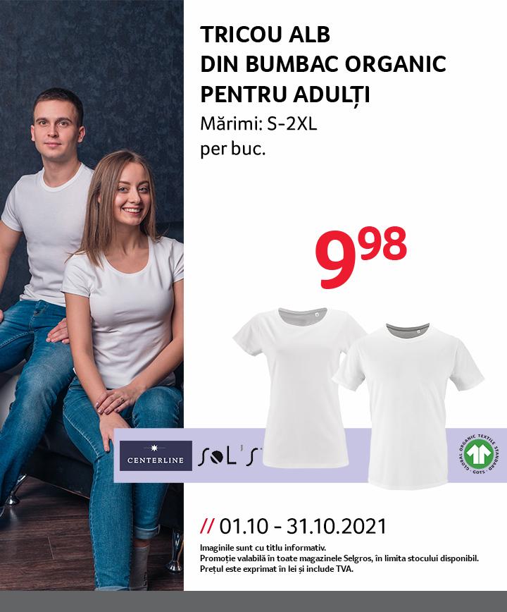 Tricou din bumbac organic pentru adulți